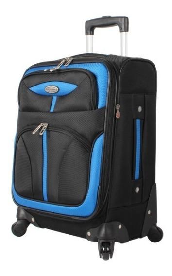 Valija Carry On 48 Cm Semi Rígida 8 Ruedas 360° Negro Y Azul
