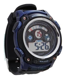Reloj Sumergible 30m Hombre Deportivo Alarma Crono Luz Ocean
