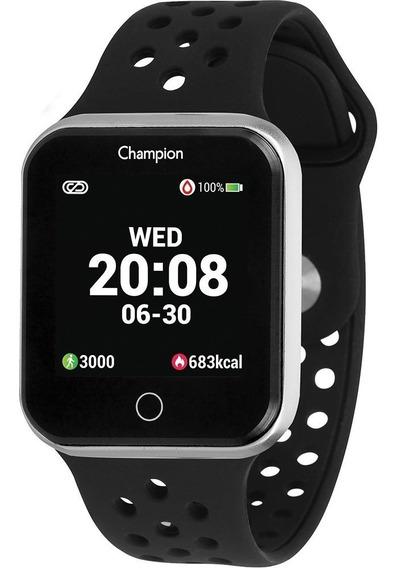Relógio Champion Smartwatch Bluetooth 4.0 Prata Preta
