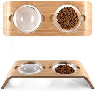 Plato Alimentador Bambu De Mascotas Perros Gatos