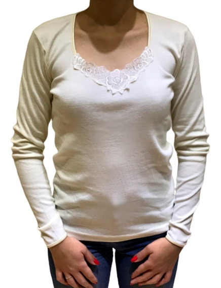 Camiseta Manga Larga Algodón Aplique Puntilla Talles Grandes