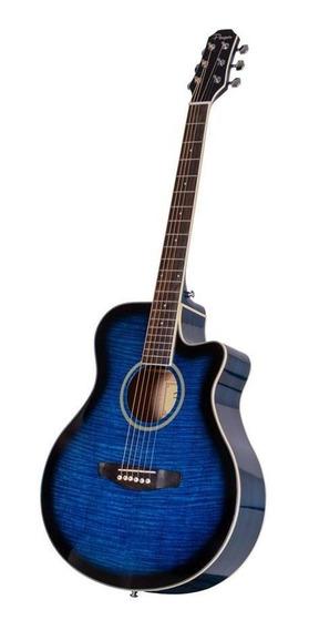 Guitarra Acustica Mini Jumbo Con Corte Y Eq4 Azul C/funda Pa