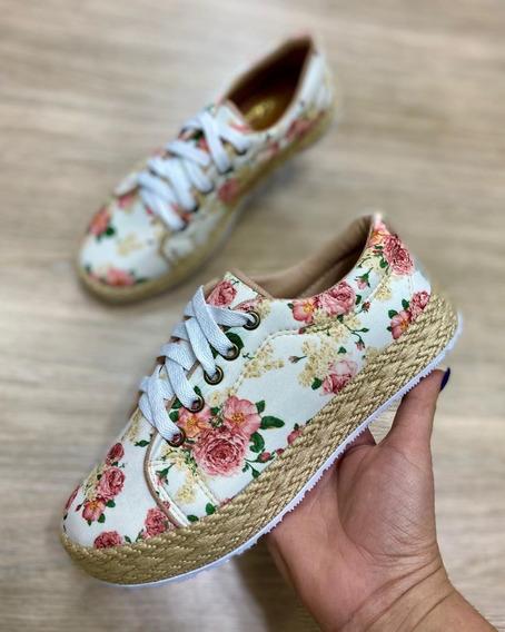 Sapato Tênis Floral Conforto Cadarço Moda Feminina Calçado