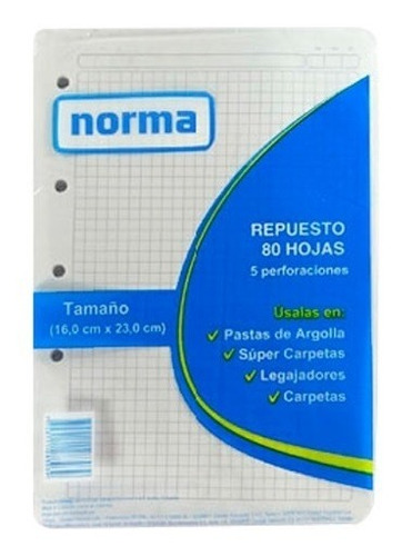 Imagen 1 de 1 de Hojas Para Folder Tamaño Mediano 95 Cuadriculado Norma