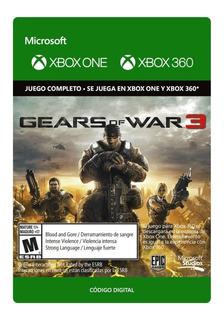 Gears Of War 3 Xbox 360 Y Xbox One- Código Digital