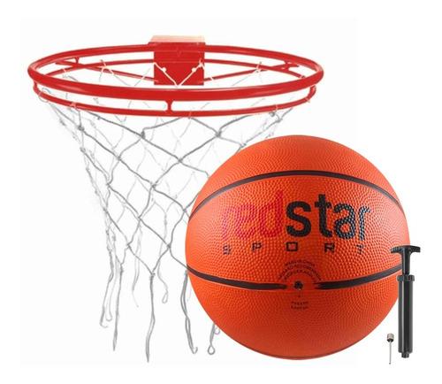Imagem 1 de 5 de Aro De Basquete Basketball 46cm E Bola Número 7 + Bomba Ar