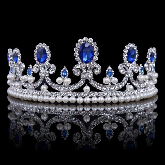 Tiara De Cristal Azul Con Diamantes De Imitación Para Novia