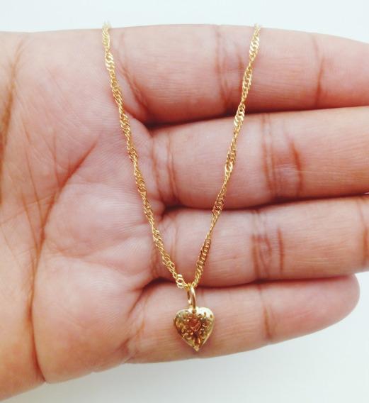 Corrente Cordão+pingente Banhado Ouro Singapura Kml2249 212