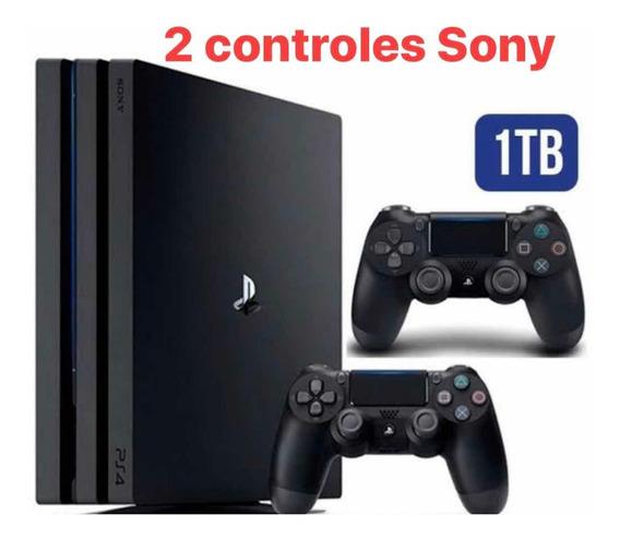 Playstation 4 Ps4 + 2 Controles Grátis 2 Jogos