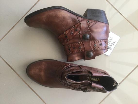 Bota Cowboy Western Ankle Boot Couro Legítimo Marrom Baixa