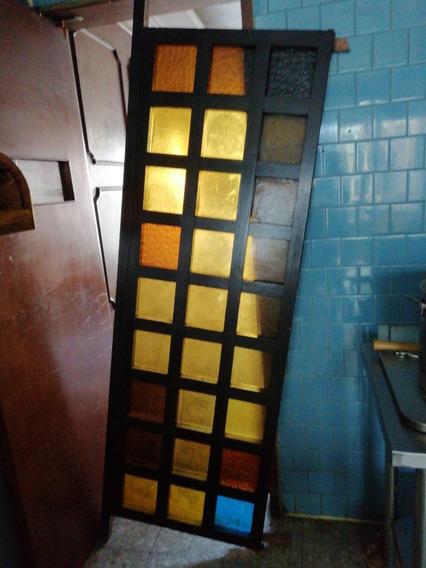 Puerta - Separación Vintage De Vidrio Con Madera.
