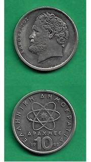 Grr-moneda De Grecia 10 Drachmai 1988 - Demócrito