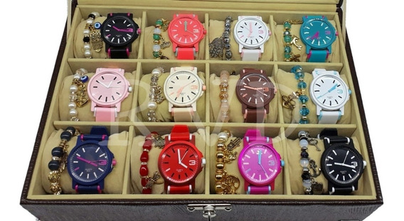 Kit 10 Relógios Feminino Esportivo Atacado + Pulseira + Caix
