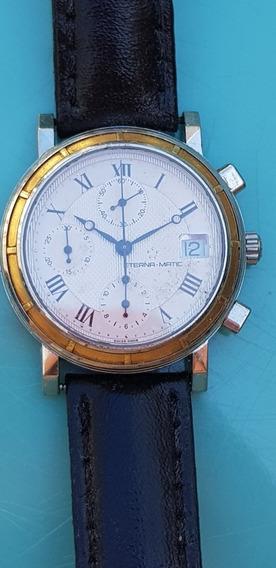 Relógio Eterna-matic Cronógrafo Automático Em Aço E Ouro.