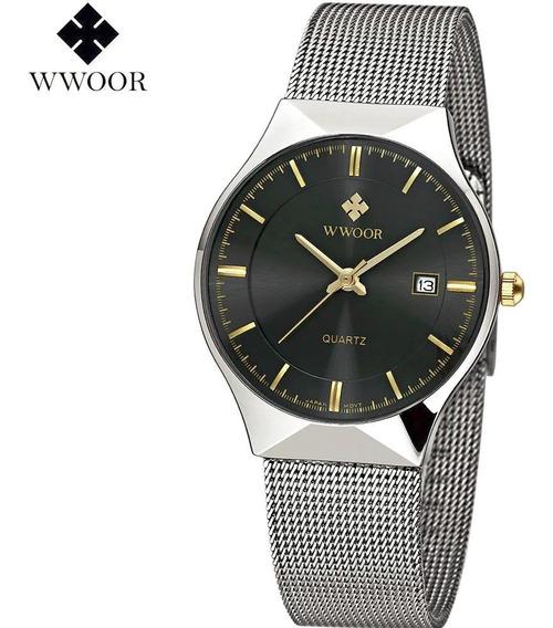 Relógio Masculino Wwoor Pulseira Em Inox Resistente À Água