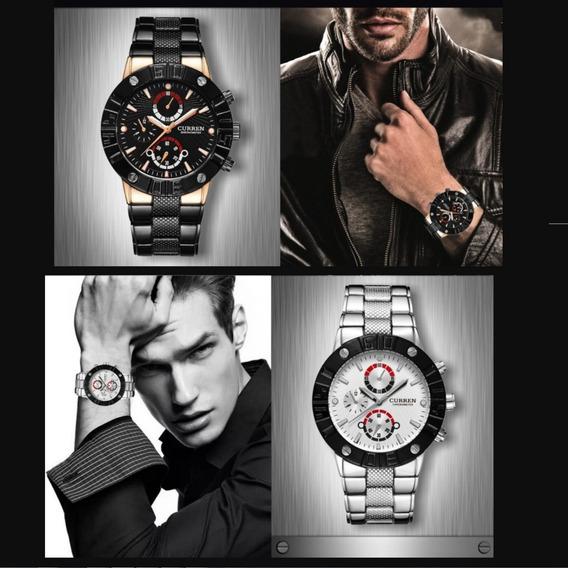 Relógio Masculino De Pulso Preto Branco Curren Modelo 8006