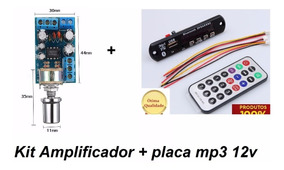Kit Placa Mp3 Usb Bluetooth + Amplificador 12v