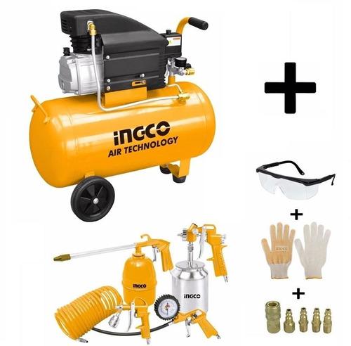 Kit Compresor 50 Lts Ingco+ Kit 5 Pzas Guantes Lentes Kirkor