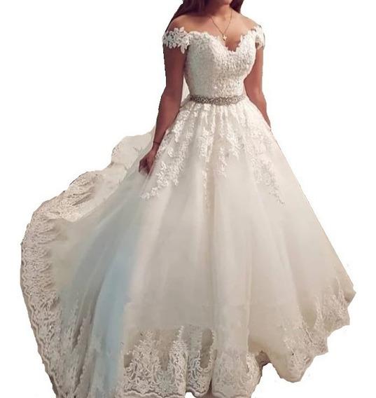 Nb10 Vestido De Noiva Renda Cinto Bordado Princesa Canoa