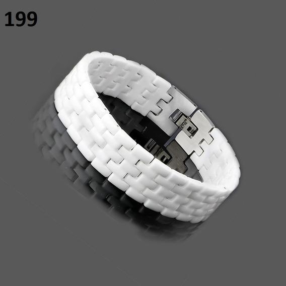 Pulseira Bracelete Masculino Branco Em Ceramica E Aço Inox