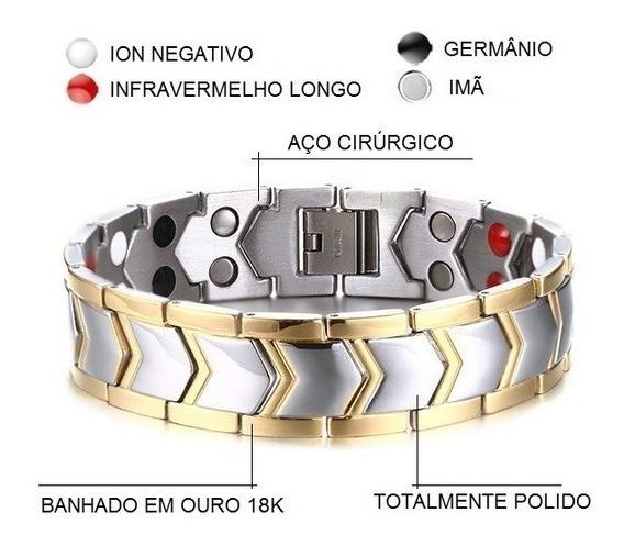 Pulseira Masculina Bracelete Aço Cirúrgico + Ouro 18k - Frete Grátis