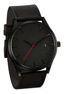 Reloj Hombre Clasico Cuero Calendario - Negro