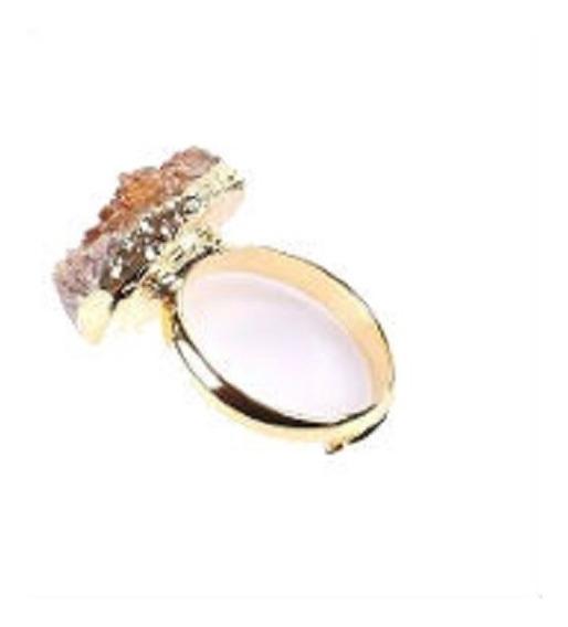 Anel Banhado A Ouro Ajustável Pedra Irregular Bruta Natural