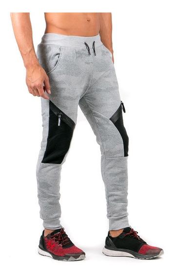 Pantalón Gris Jogger Pants Caballero, Detalle Rodillas.