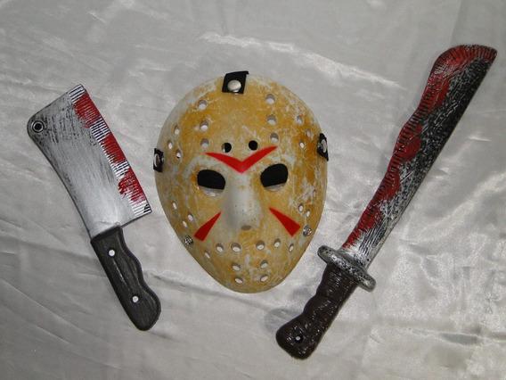 Fantasia Jason Kit Mascara + Machado + Facão Chucky Freddy I