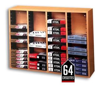 Porta 64 Cassettes Música Rack Audio Full Madera Nuevos