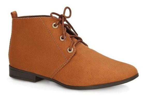 Botines Zapatos De Piso Andrea Dama Cafés Miel Con Agujetas