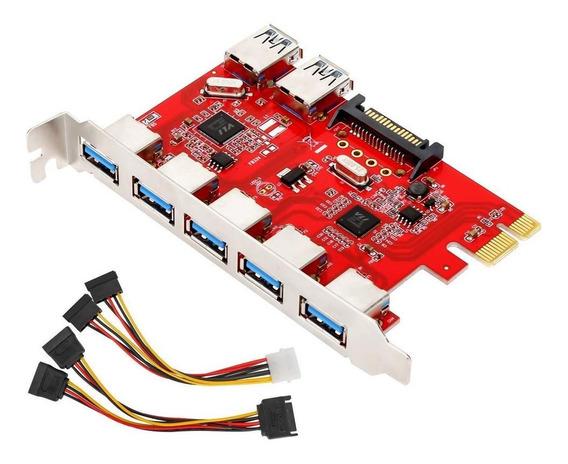 Pci-e De 7 Portas Usb 3.0 Adaptador De Placa De Expansão 5 P