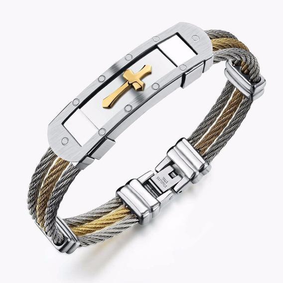 Pulseira Masculina Feminina Aço 316l Banhado Ouro Bracelete