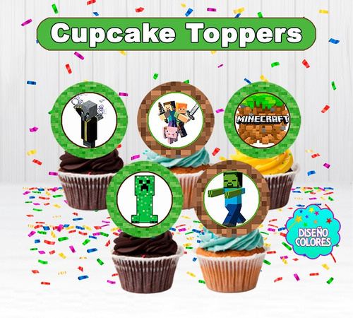 Topper Cupcakes Minecraft Para Imprimir Digital