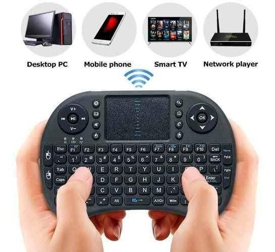 Mini Teclado Mouse Wireless Sem Fio P/ Smart Tv Box Receptor