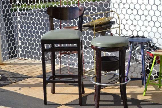 Cadeira Banco Madeira Antigo Altas S/ Encosto Franco Bachot