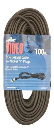 Cable Coaxial Leviton C6851-ce Rg6, Niquelado, 100 Pies, Neg