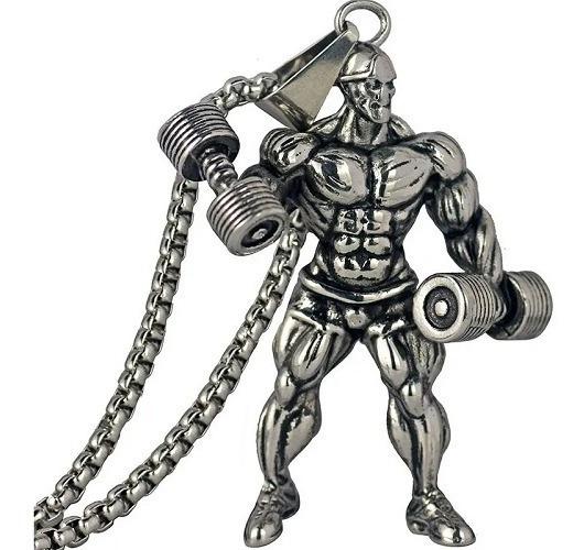 Cordão Masculino Fisiculturista Musculação Academia Prata