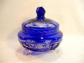 Compoteira Em Cristal Da Boemia Azul Cobalto Decada 60 Rara