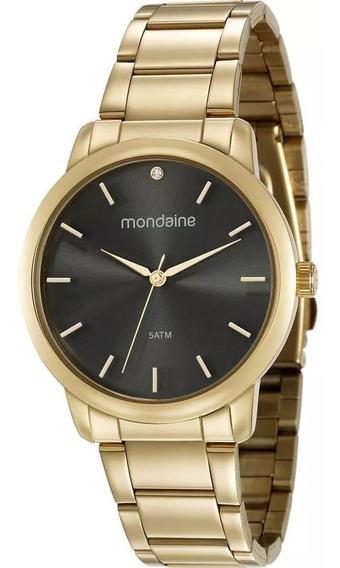 Relógio Feminino Dourado Preto Mondaine 53616lpmvde1 Barato