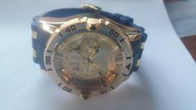 Relógio Masculino Dourado Grande Pulseira Resina Borracha