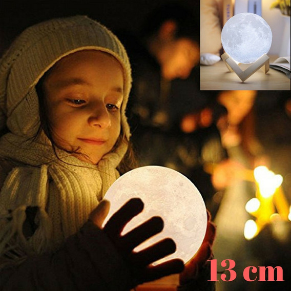 Luminaria 3d Lua Cheia 13cm Usb/touch Pronta Entrega