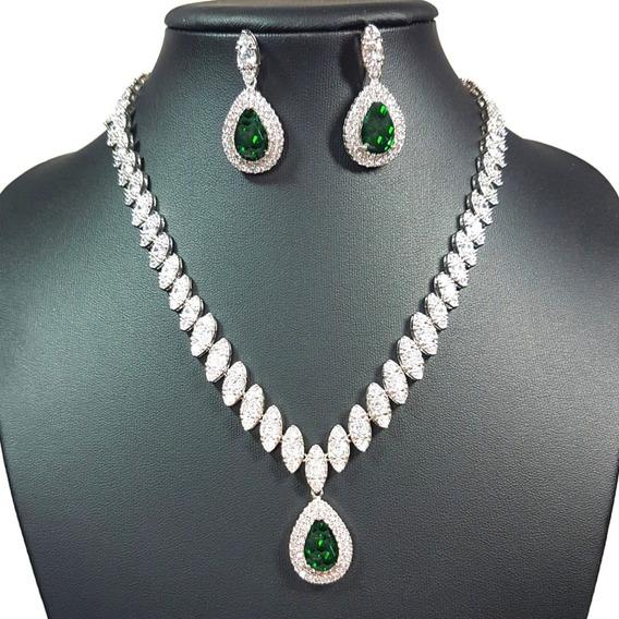 Colar E Brincos Cravejados De Zircônias Gota Verde Esmeralda