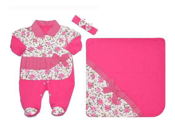 Kit Saída De Maternidade Pink Com Floral - Para Meninas