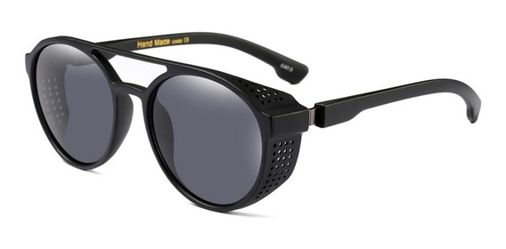 Óculos Sol Redondo Steampunk Retrô Proteção Lateral + Brinde