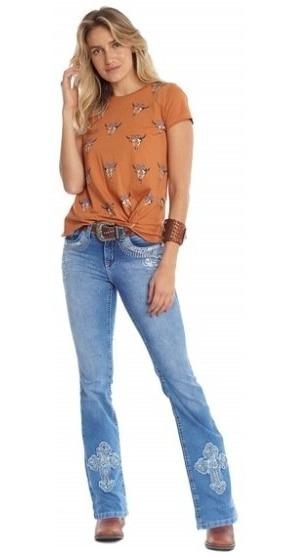 Calça Jeans Feminina Tassa Bordada Lançamento Country Rodeio