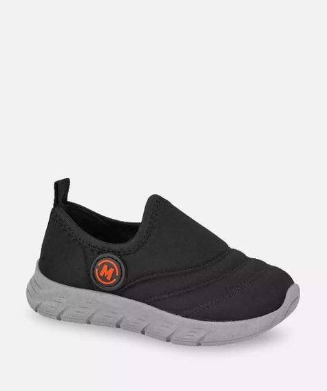 Tênis Slip Menino Prático Leve Confortável Preto Casual