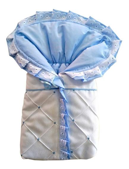 Porta Bebê Saco De Bebe Dormir Azul Bebê E Branco Algodão