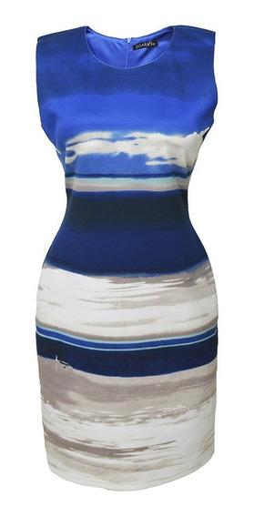 Vestido Sin Mangas Estampado Dama Mujer Azul 2954 Zoara