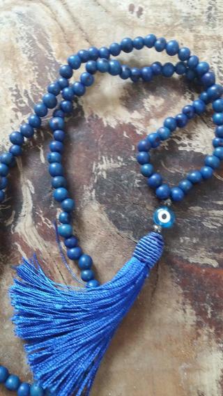 Japamala 108 Em Açai Azul Com Olho Grego
